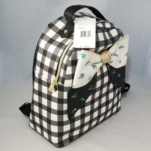 Adorable Betsey Johnson Backpack Black and White Gingham Design with Big Rosebud Bow